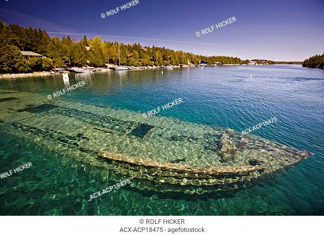 Shipwreck of the Sweepstakes built in 1867 in Big Tub Harbour, Fathom Five National Marine Park, Lake Huron, Ontario, Canada