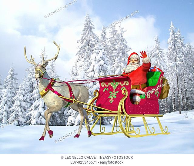 Santa Claus on his sleigh and reindeer on snow, with snow capped trees on background
