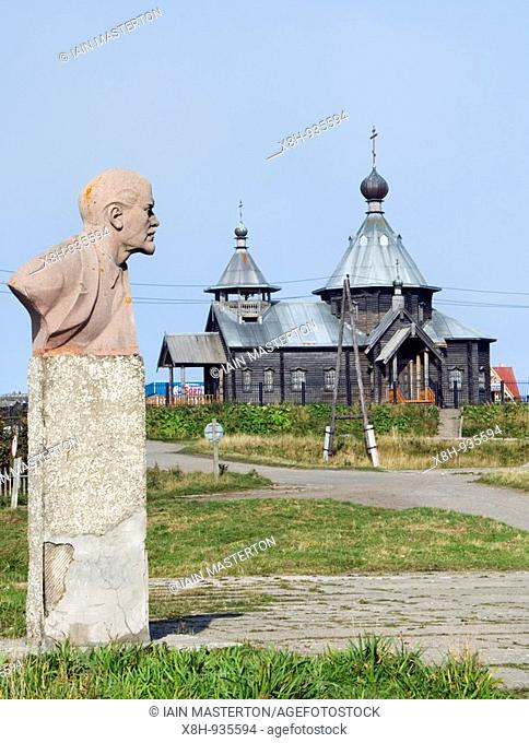 Statue of Lenin in center of village of Yuzhno-Kurilsk on Kunashir Island in Kuril Island chain in Russia