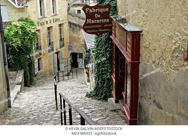 Street scene Macaron shop Bordeaux vineyard town St Emilion France