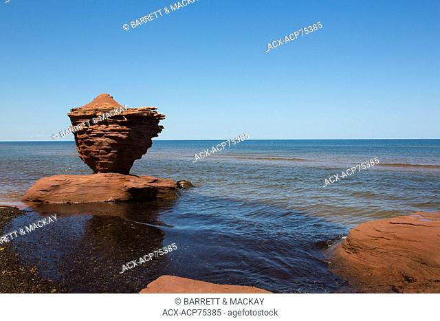 Eroded sandstone cliff, Darnley, Prince Edward Island, Canada