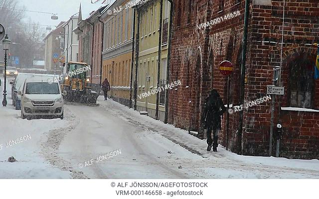 Snow clearing on street
