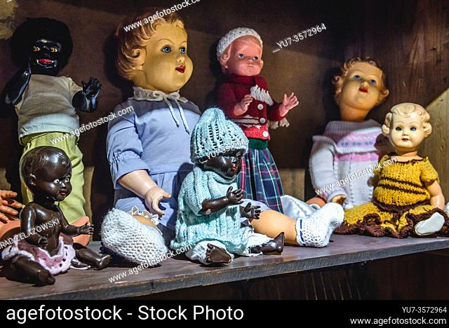 Old fashioned dolls in Museum of Toys and Tales in Torun, Kuyavian Pomeranian Voivodeship of Poland