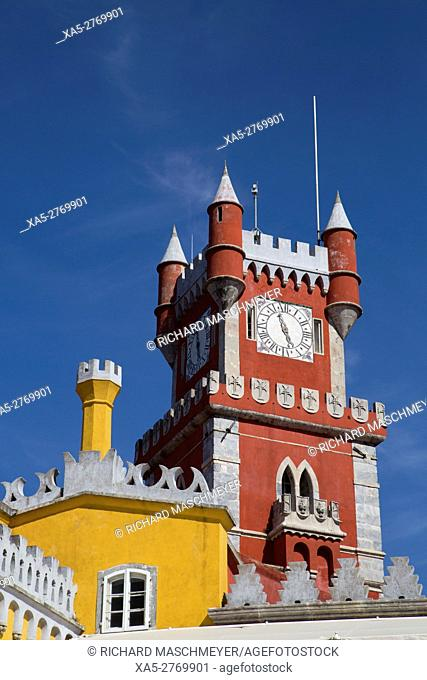 Clock Tower, Pena National Palace, Sintra, UNESCO World Heritage Site, Portugal