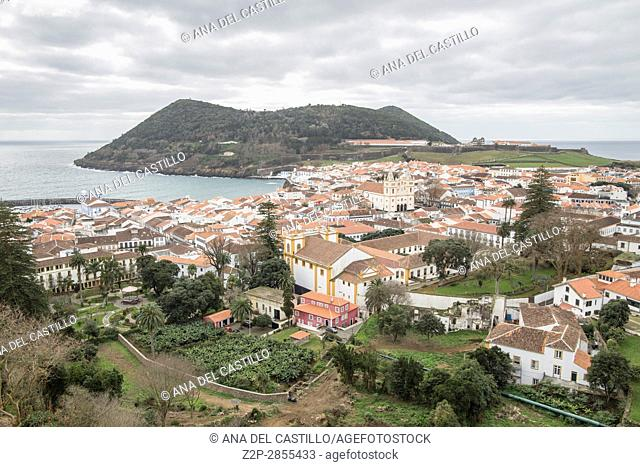 Angra do Heroismo is World Heritage site in Azores islands Portugal, on January 2017. Panorama from Memoria obelisk