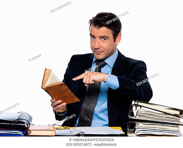 man caucasian teacher professor tutoring book isolated studio on white background