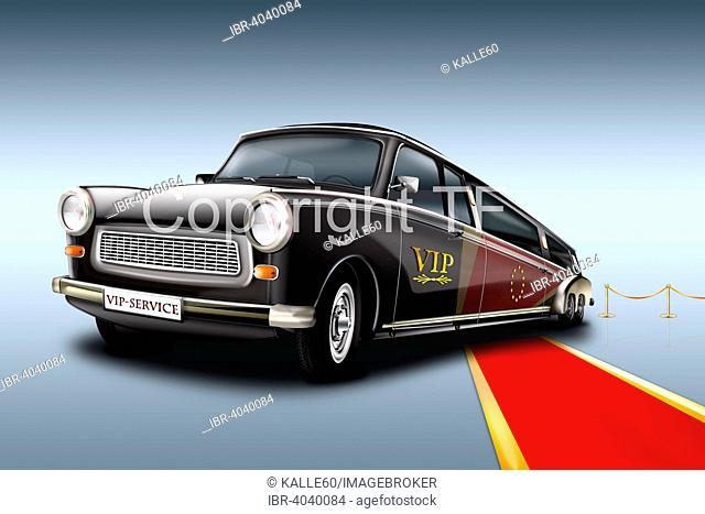 Trabant 601 as a VIP, Stretch Limousine with a red carpet, illustration