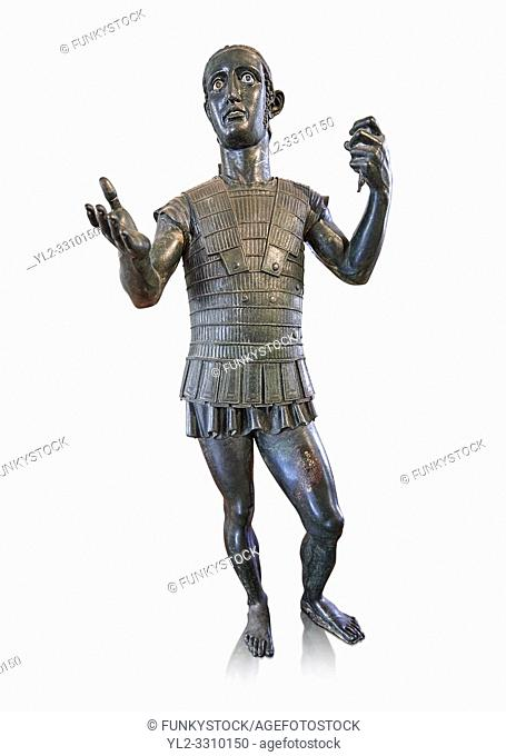 Etruscan bronze statue portraying a nearly life size young warrior dressed in armour, offering a libation of wine to a divinity ( patera style cup missing) Made...