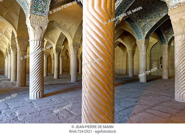 Shabestan prayer hall, The Vakil Mosque, west of the Vakil Bazaar, Shiraz, Iran, Middle East