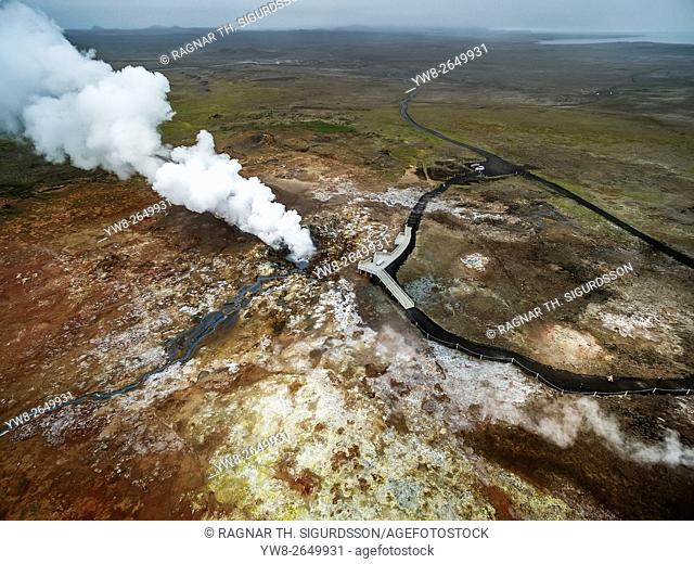 Aerial-Geothermal Steam and landscape, Gunnuhver hot spring, Reykjanes Peninsula, Iceland. This image is shot with a drone
