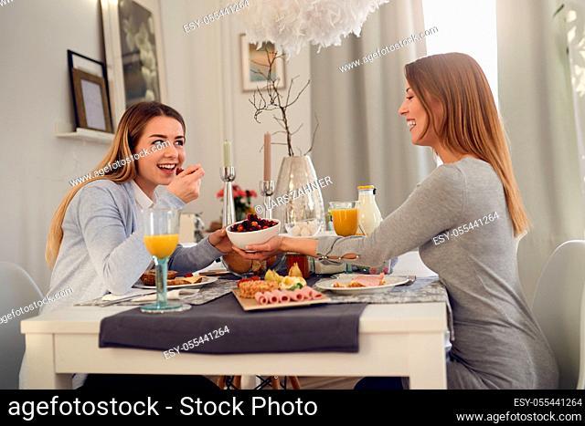 home, breakfast, friends
