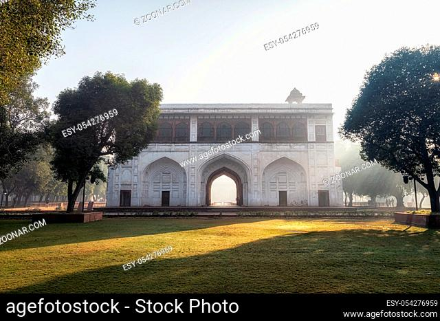 Nauba Khana or Naqqar Khana a small drum house connecting outer and inner court of Red Fort taken during morning sunrise time. New Delhi, India