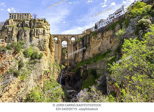 Panoramic of the Tajo de Ronda with the New Bridge, in Ronda, Andalucia, Spain