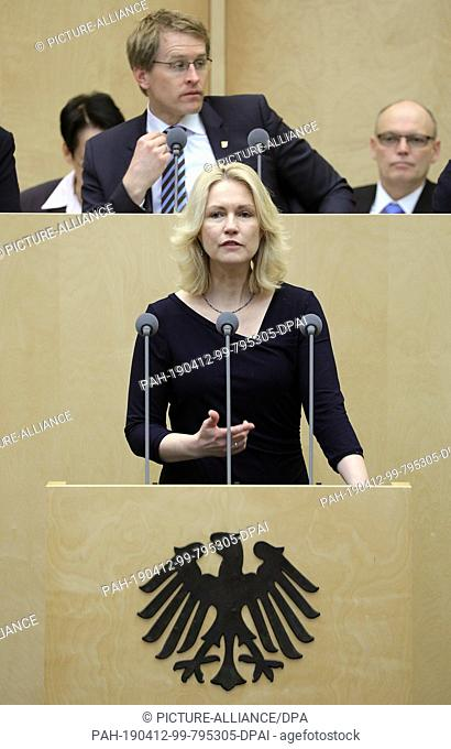 12 April 2019, Berlin: Manuela Schwesig (SPD), Prime Minister of Mecklenburg-Western Pomerania,..during the concluding deliberations on, among other things