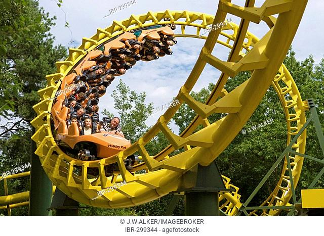 Roller coaster in the Holidaypark, Hassloch, Rhineland-Palatinate, Germany