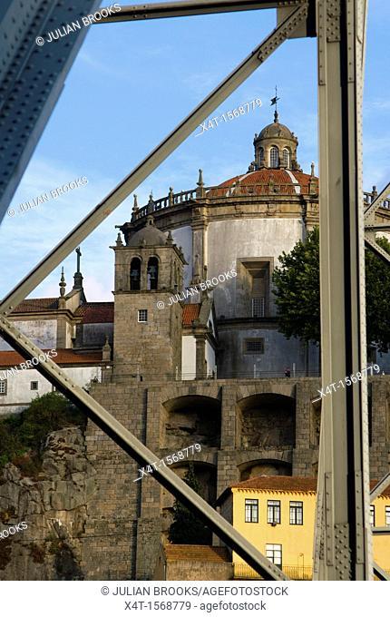 Serra do Pilar monastery in Porto, Portugal,seen through the Dom Luis bridge in Porto, Portugal
