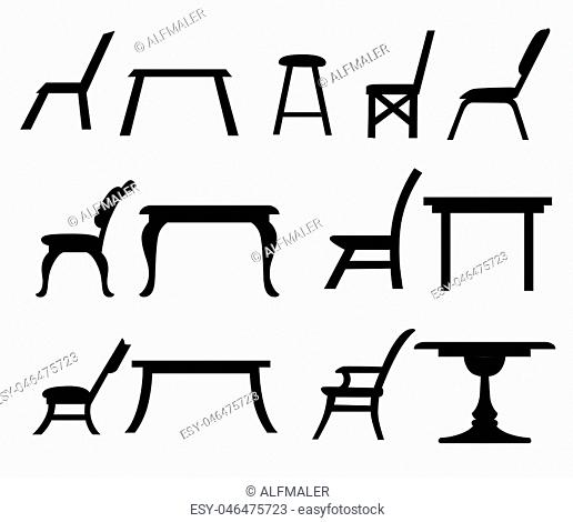 Table chair icon set for interiors Flat design style vector illustration