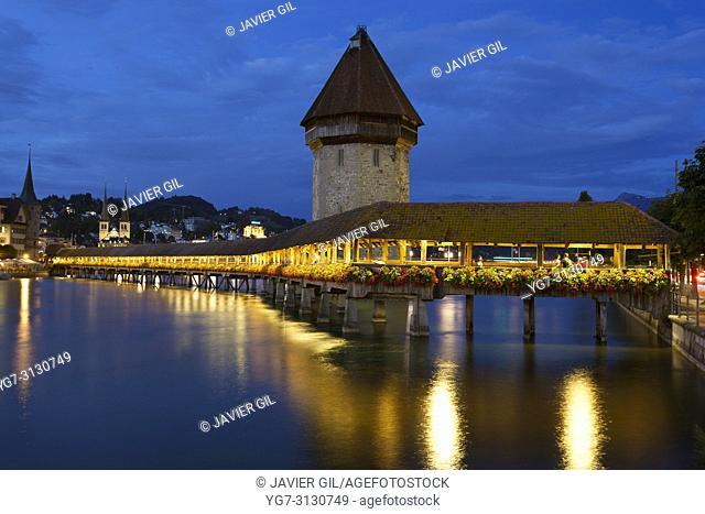 Kapellbrucke bridge and water tower, Lucerne, Switzerland
