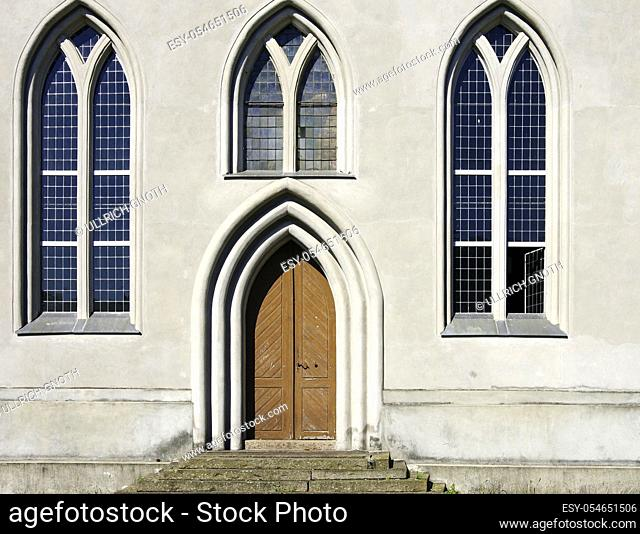 Church portal, rear entrance or exit of the so called Schinkel Church in Joachimsthal near Berlin, Germany