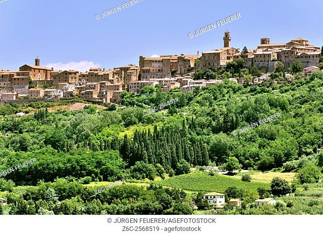 Montepulciano, Renaissance town of Tuscany situated on a hill, sight with green surrounding, Italy