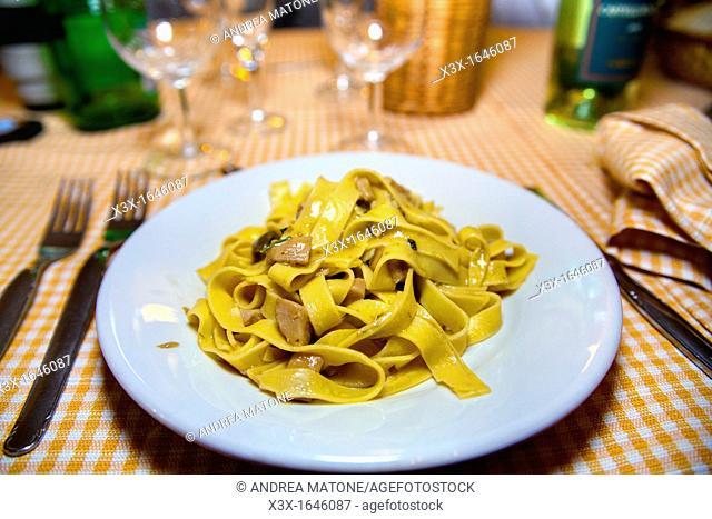 Italian fettucine pasta with mushrooms