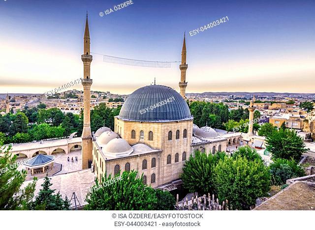 View of Mevlidi Halil Mosque, one of landmarks in Sanliurfa, Turkey. 18 July 2018