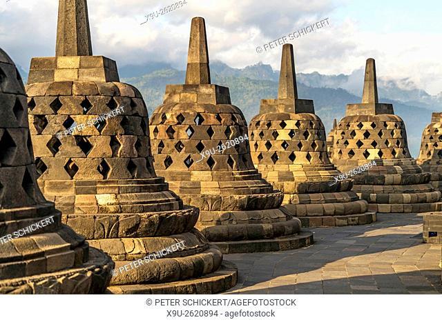 stupas at the 9th-century Mahayana Buddhist Temple Borobudur near Yogyakarta, Central Java, Indonesia, Asia