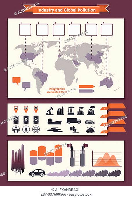 Vector set of elements of infographic for visualization worldwide industry and global pollution