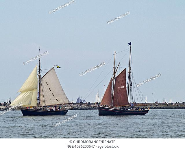 quot Haikutter quot Fishing Smacks entering the Port of Warnemünde, Mecklenburg West Pomerania, Germany