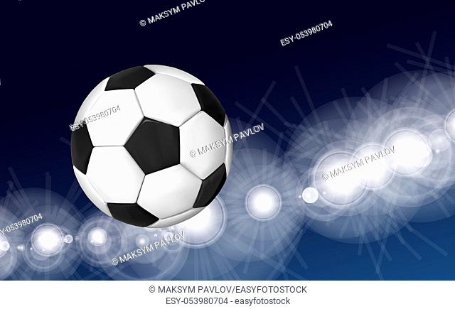 Soccer ball flying over the evening sky in the light of spotlights and flashes of a football stadium. Vector