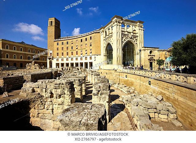 The Roman Amphitheatre. Lecce, Apulia, Italy