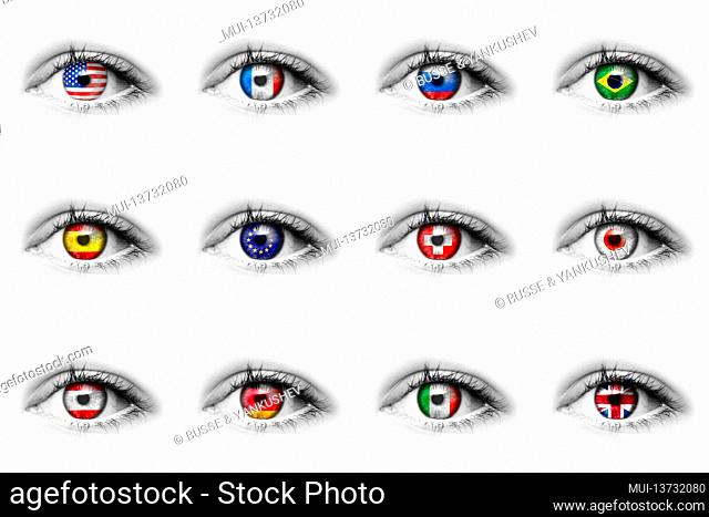Eye with various national flags in the iris