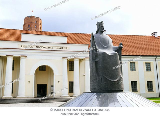 Monument to King Mindaugas is located in the front of the National Museum of Lithuania. Vilnius, Vilnius County, Lithuania, Baltic states, Europe