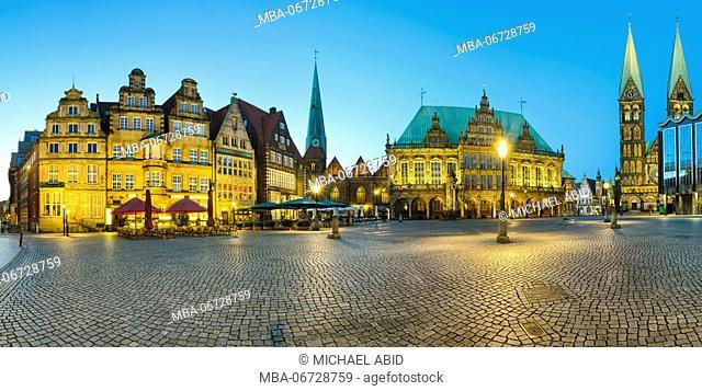 Panorama of Bremen Market Square, Germany