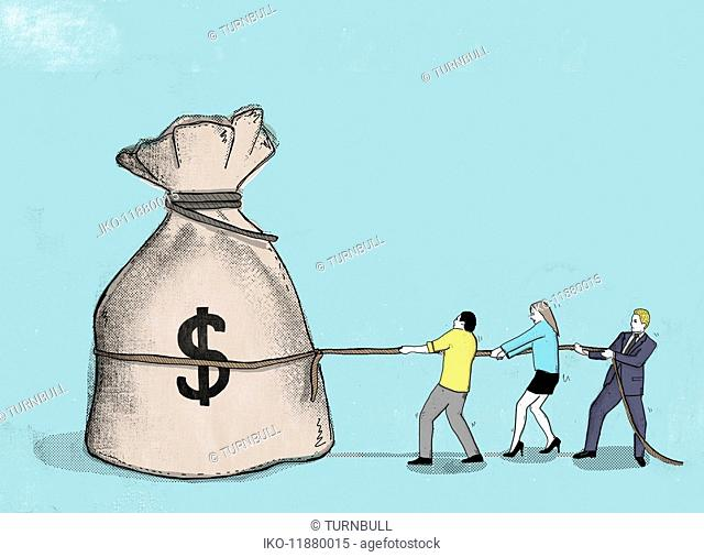 Businessman and couple pulling at rope around large dollar sign money bag