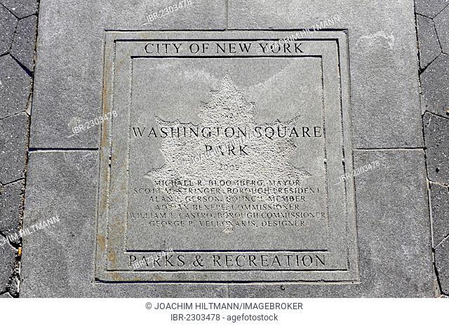 Engraved floor plaque at the Washington Square Park, Greenwich Village, Manhattan, New York City, New York, USA, North America