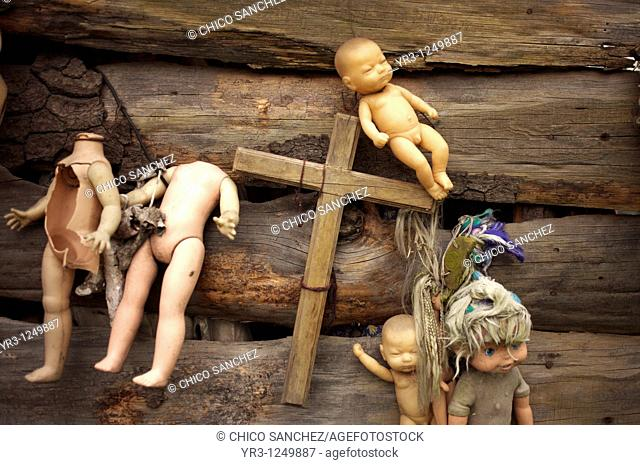 Dolls hang on a building on the Island of the Dolls in Xochimilco, southern Mexico City. The late Don Julian turned his 'chinampa