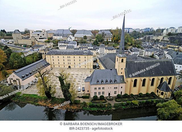 Neumuenster Abbey, church, monastery, cultural centre, Alzette valley, Alzette river, Luxembourg, Europe, PublicGround
