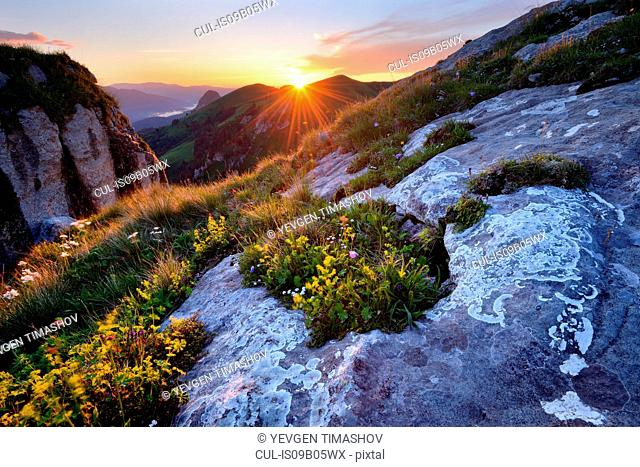 Landscape with rock formations at sunset, Bolshoy Thach (Big Thach) Nature Park, Caucasian Mountains, Republic of Adygea, Russia
