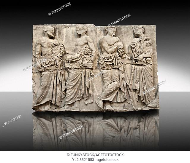 Marble Releif Sculptures from the east frieze around the Parthenon Block IV 20-23. From the Parthenon of the Acropolis Athens