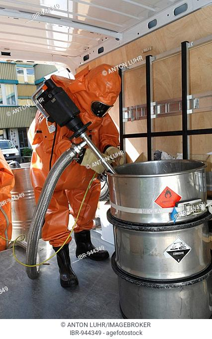 Hazardous material practice of the fire brigade wearing protective clothing