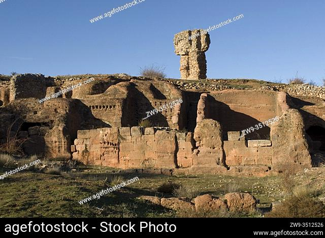 Roman city of Tiermes, Centuries I to III A.C., cave houses carved in sandstone, Pela Mountains, Montejo de Tiermes, province of Soria, Castilla y Leon, Spain
