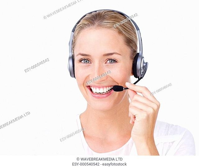 Smiling customer service representative using headset against a white background