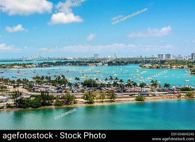 View of MacArthur Causeway and Venetian Islands at Biscayne Bay in Miami, Florida, United States of America