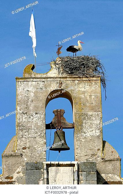 Portugal, Alentejo, Santa de Bao Nova, chapel, nest of storks