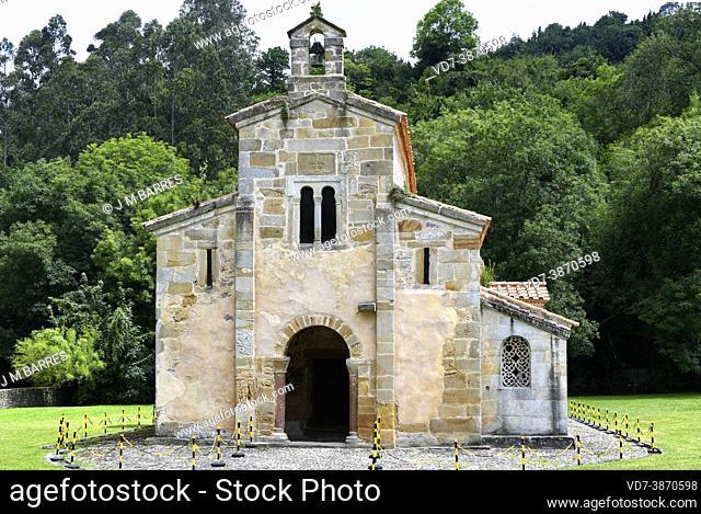 San Salvador de Valdedios church or El Conventin (pre-romanesque 9th century). Valdedios, Villaviciosa, Asturias, Spain