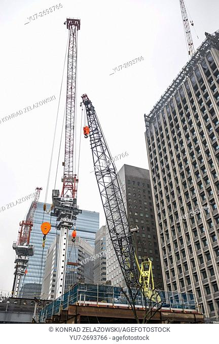Building site in Marunouchi commercial dsitrict of Chiyoda special ward, Tokyo city, Japan