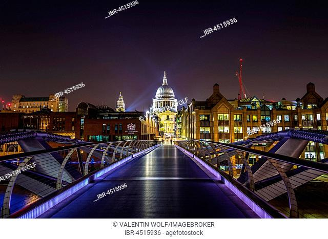 Illuminated Millennium Bridge and St. Paul's Cathedral, night shot, London, England, United Kingdom