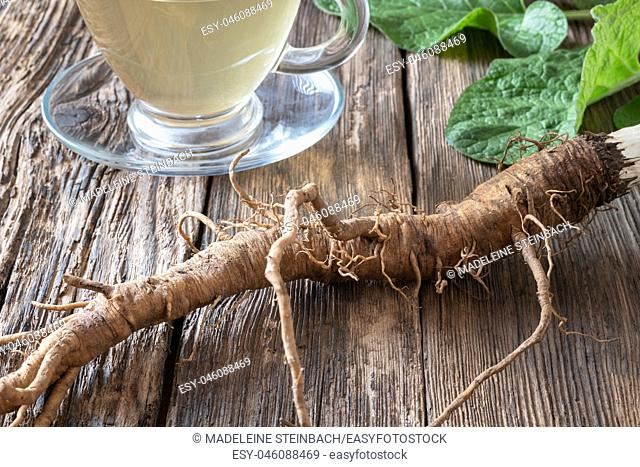 Burdock roots on a table with herbal tea in the background