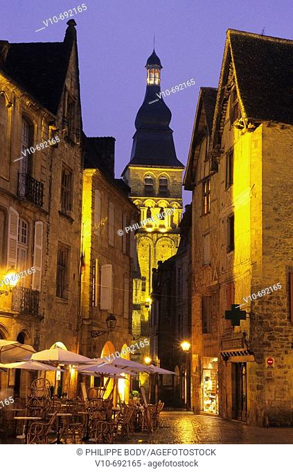 Old city by night, Sarlat, Dordogne, France